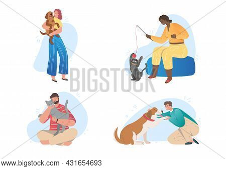 Collection Of Happy Pet Owners. Men And Women Together With Their Cats And Dogs. Love For Animals An