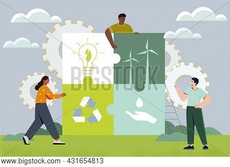 Caring For Environment Concept. People Connect Components Of Ecological Balance. Recycling And Sorti