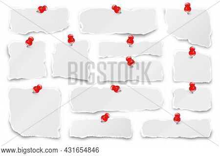 Ripped Paper Strips With Red Push Pins. Realistic Crumpled Paper Scraps With Torn Edges. Shreds Of N
