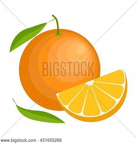 Cartoon Vector Illustration Orange. Whole And Slice Orange With A Leaf Isolated On White Background.