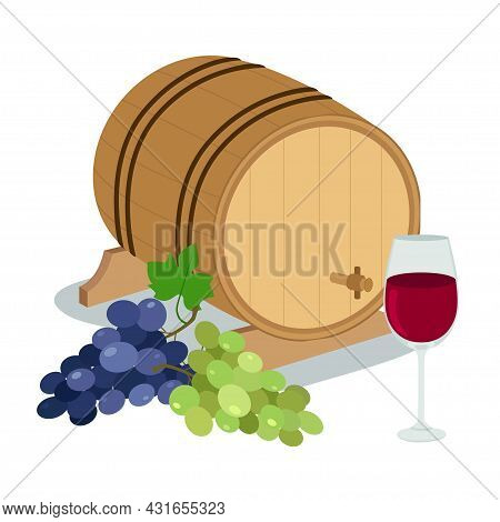 Wine Barrel With Grape And Wineglass On White Background. Vector Illustration In Flat Style.