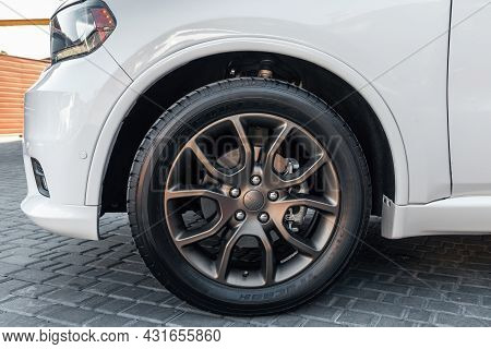 Ukraine, Odessa July 8 - 2021: Modern Automotive Wheel On Light Alloy Disc. Dodge Rims With Logo. Do