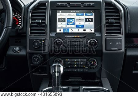 Ukraine, Odessa July 8 - 2021: Ford Raptor - Car Interior With Big Multimedia Display. View From Ins