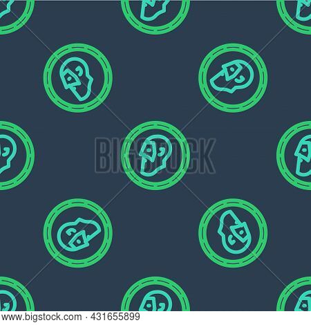 Line Ancient Coin Icon Isolated Seamless Pattern On Blue Background. Vector