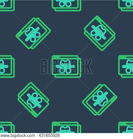 Line Browser Incognito Window Icon Isolated Seamless Pattern On Blue Background. Vector