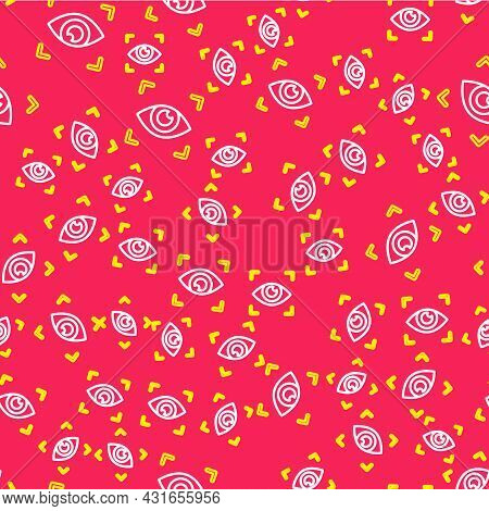 Line Eye Scan Icon Isolated Seamless Pattern On Red Background. Scanning Eye. Security Check Symbol.