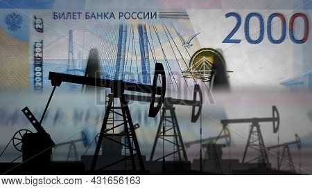 Russia Ruble Money Counting With Oil Pump