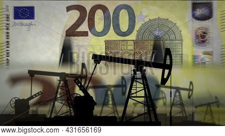 Euro Money Counting With Oil Pump