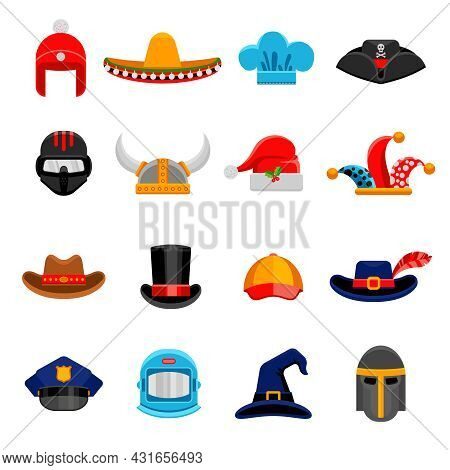 Funny Party Costume Historical And Professional Headwear Flat Icons Set With Cosmonaut Spacesuit Abs