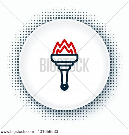 Line Torch Flame Icon Isolated On White Background. Symbol Fire Hot, Flame Power, Flaming And Heat.