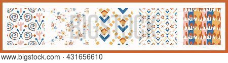 Whimsical Henri Matisse Style Cut Out Shape Pattern Set. Seamless Collage Retro Allover Print Collec