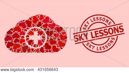 Distress Sky Lessons Stamp Seal, And Red Love Heart Mosaic For Medical Cloud. Red Round Stamp Has Sk