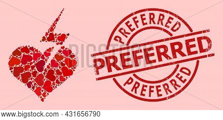 Distress Preferred Stamp Seal, And Red Love Heart Mosaic For Heart Strike. Red Round Stamp Seal Incl