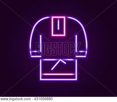 Glowing Neon Line Kosovorotka Is A Traditional Russian Shirt Icon Isolated On Black Background. Trad