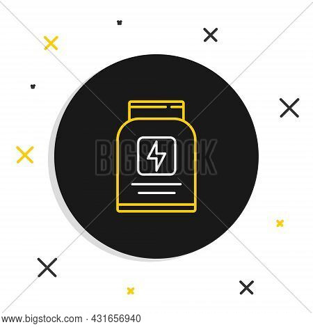 Line Sports Nutrition Bodybuilding Proteine Power Drink And Food Icon Isolated On White Background.