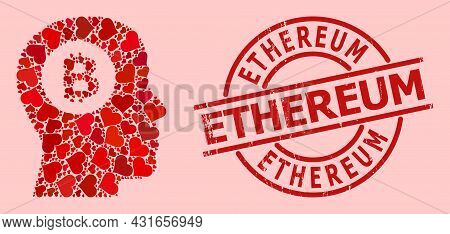 Scratched Ethereum Stamp Seal, And Red Love Heart Mosaic For Bitcoin Thinking. Red Round Seal Has Et