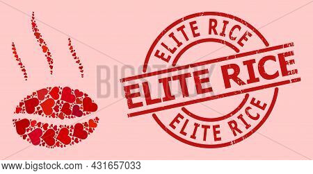 Rubber Elite Rice Badge, And Red Love Heart Mosaic For Coffee Aroma. Red Round Badge Has Elite Rice