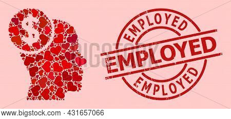 Rubber Employed Stamp Seal, And Red Love Heart Mosaic For Head Banking. Red Round Stamp Includes Emp