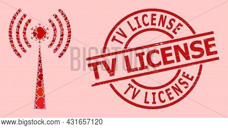 Textured Tv License Stamp Seal, And Red Love Heart Collage For Virus Radio Tower. Red Round Seal Has