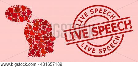 Rubber Live Speech Stamp Seal, And Red Love Heart Mosaic For Imagination Cloud. Red Round Seal Conta
