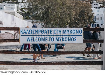Mykonos Town, Greece - September 23, 2019: Close Up Of Welcome To Mykonos Sign At The Arrivals In Th