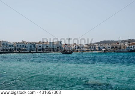 Mykonos Town, Greece - September 24, 2019: View Of The Boats In New Port In Hora, Also Known As Myko