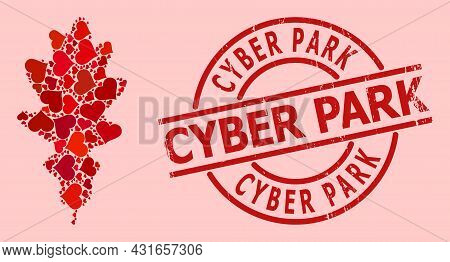 Grunge Cyber Park Stamp Seal, And Red Love Heart Collage For Oak Leaf. Red Round Stamp Seal Contains