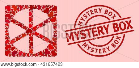 Scratched Mystery Box Seal, And Red Love Heart Mosaic For Pizza Box. Red Round Seal Includes Mystery