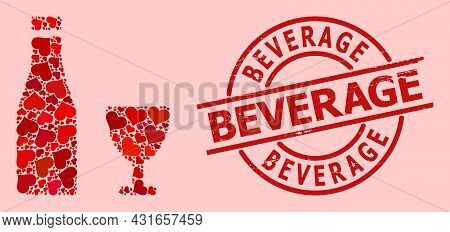 Grunge Beverage Seal, And Red Love Heart Collage For Alcohol Drinks. Red Round Seal Has Beverage Tex