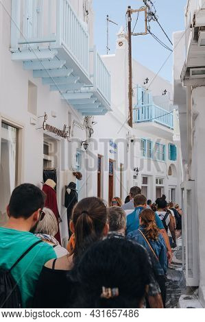 Mykonos Town, Greece - September 23, 2019: View Of Shops On A Narrow Street In Hora (also Known As M