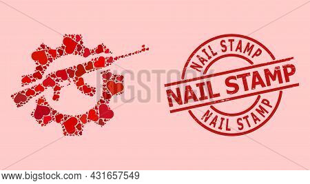Scratched Nail Stamp Seal, And Red Love Heart Collage For Weapon Industry. Red Round Stamp Seal Incl