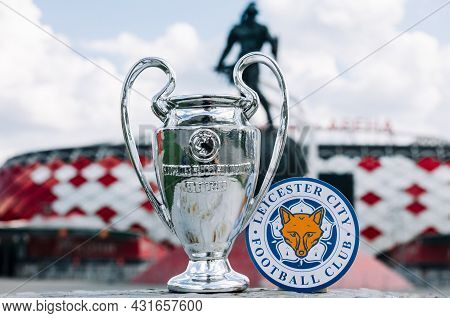 June 14, 2021 Moscow, Russia. The Emblem Of The Leicester City Football Club And The Uefa Champions
