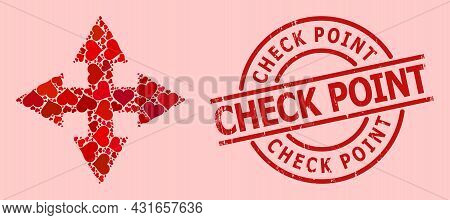 Distress Check Point Stamp Seal, And Red Love Heart Collage For Expand Arrows. Red Round Stamp Seal