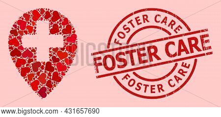 Rubber Foster Care Stamp Seal, And Red Love Heart Mosaic For Clinic Map Pointer. Red Round Stamp Sea