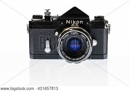 Maryville, Tennessee, United States - August 26, 2021: Horizontal Front Shot Of A Black Nikon F Sing