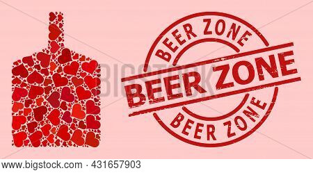 Grunge Beer Zone Stamp Seal, And Red Love Heart Mosaic For Wide Bottle. Red Round Stamp Seal Include