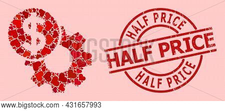 Textured Half Price Stamp Seal, And Red Love Heart Collage For Engineering Price. Red Round Stamp Ha