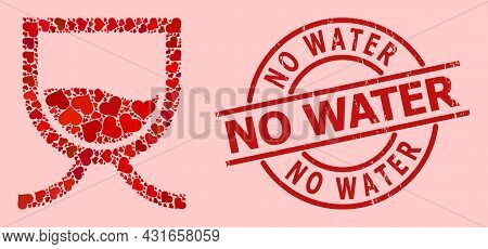 Rubber No Water Seal, And Red Love Heart Collage For Water Tank. Red Round Stamp Seal Has No Water T