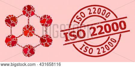 Scratched Iso 22000 Stamp, And Red Love Heart Collage For Blockchain Nodes. Red Round Stamp Seal Con
