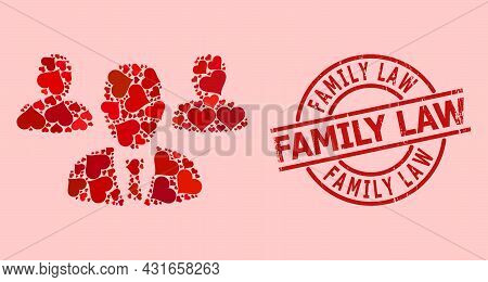 Rubber Family Law Stamp Seal, And Red Love Heart Mosaic For Team Staff. Red Round Stamp Seal Include