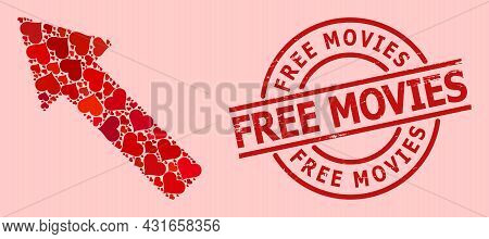 Distress Free Movies Seal, And Red Love Heart Mosaic For Left Up Arrow. Red Round Seal Includes Free