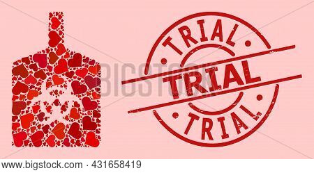 Scratched Trial Stamp Seal, And Red Love Heart Pattern For Biohazard Bottle. Red Round Stamp Seal Co