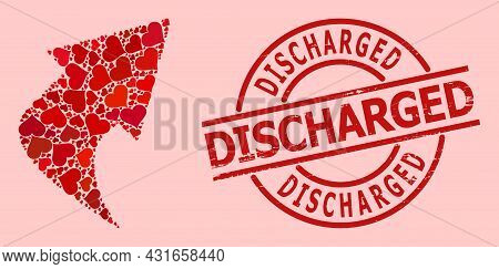 Distress Discharged Stamp, And Red Love Heart Mosaic For Upload Arrow. Red Round Stamp Seal Has Disc
