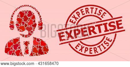 Distress Expertise Seal, And Red Love Heart Collage For Call Center Operator. Red Round Seal Include