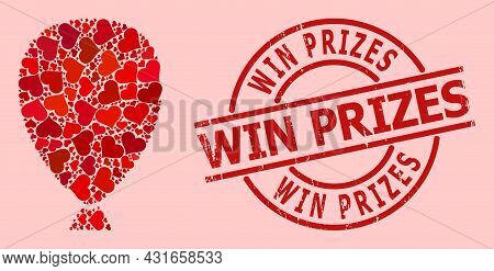 Grunge Win Prizes Stamp Seal, And Red Love Heart Mosaic For Celebration Balloon. Red Round Stamp Sea