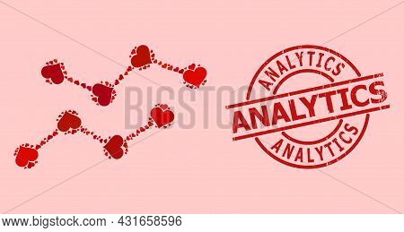 Distress Analytics Stamp, And Red Love Heart Mosaic For Charts. Red Round Stamp Seal Includes Analyt