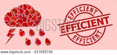 Rubber Efficient Stamp Seal, And Red Love Heart Mosaic For Thunderstorm Weather. Red Round Stamp Sea