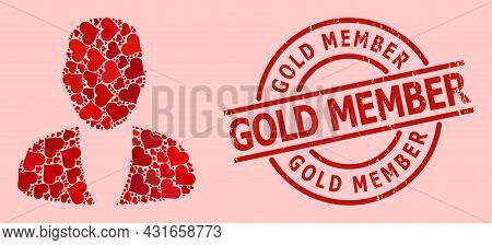 Rubber Gold Member Stamp Seal, And Red Love Heart Mosaic For Guy Person. Red Round Stamp Seal Includ