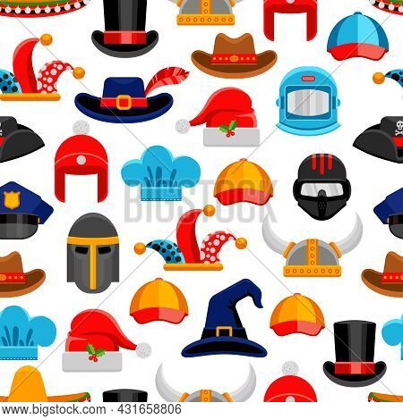 Headwear Seamless Colorful Pattern With Different Kinds Of Hats From Various Ages And Styles Vector