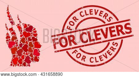 Textured For Clevers Badge, And Red Love Heart Collage For Brain Steam. Red Round Badge Contains For